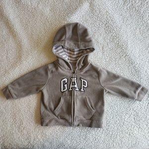 Baby Gap Tan & White Zip Up Hoodie Boy 12-18months